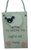 FARM FRIENDS (SHEEP) WE WELCOME LOVE LAUGHTER AND FRIENDS WOODEN HANGING SIGN